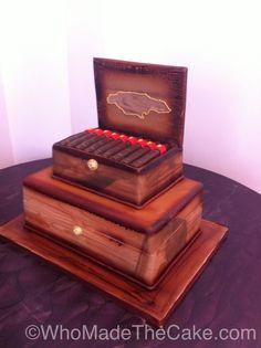 Cigar box cake by www.WhoMadeTheCake.com #cigarcake #cigargroomscake.