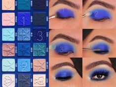 """Learn about makeup goals History of eye makeup """"Eye care"""", quite simply, """"eye make-up"""" Jeffree Star Eyeshadow, Blue Eyeshadow Makeup, Blue Eyeshadow Looks, Blue Makeup Looks, Younique Eyeshadow, Eyeshadow Palette, Eyeshadow Dupes, Orange Eyeshadow, Eyeshadow Tutorials"""