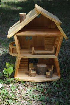 Forest wooden waldorf house  wood doll house  wooden doll