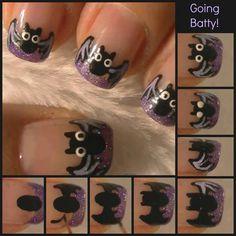 Going Batty DIY Nail Design nails paint diy design polish halloween step by step…