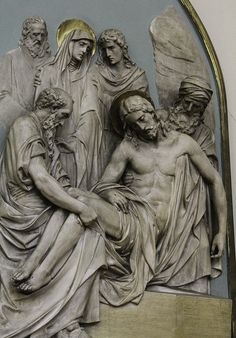 The Fourteenth Station – Jesus is Entombed - This station is in the Dominican church of St Louis Bertrand in Louisville, KY. Religious Icons, Religious Art, Anatomy Sculpture, Christ The King, Dark Art Drawings, Jesus Art, Marble Art, Catholic Art, Jesus On The Cross