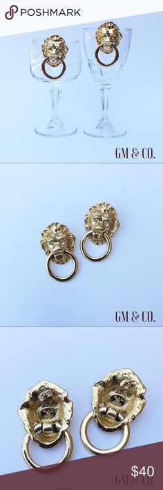 🌹🆕Vintage Lions Head Door Knocker Earrings🌹 Vintage Kenneth Jay Lane for Avon Gold tone and Rhinestone Lions Head Door Knocker Earrings. 🌹🌹These are a Collector's Item!  Designed by Kenneth Jay Lane for Avon in the early 1980's. Clip on backs. Mint condition. No defects. Length: 1.5 inches. Width: 1.25 inches. Avon Jewelry Earrings