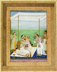 Shah Jahan dandling Aurangzeb. Mughal, 1620. V&A