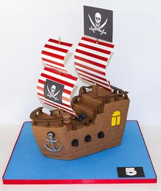 Pirate Ship for Jaime Pirate Birthday Cake, 3rd Birthday Cakes, 4th Birthday Parties, Boy Birthday, Pirate Ship Cakes, Party Fiesta, Pirate Theme, Themed Cakes, Party Cakes