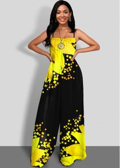 African Print Pants, Yellow Jumpsuit, Evening Dresses Plus Size, Sunflower Print, Cosplay Dress, Event Dresses, Cute Casual Outfits, Jumpsuits For Women, Color Yellow