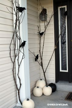 These outdoor Halloween decorations will trick (or treat!) your neighbors. Our cheap DIY Halloween yard decor ideas are sure to put a spell on them, from spooky door decorations to creatively carved pumpkins! Décoration D'halloween Diy, Easy Diy, Halloween Dekoration Party, Deco Haloween, Porche Halloween, Halloween Veranda, Hallowen Ideas, White Pumpkins, White Pumpkin Decor