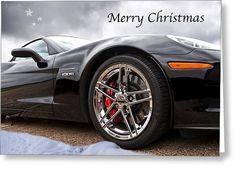Merry Christmas Corvette Greeting Card by Gill Billington