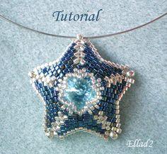 Silver Blue...Star Pendant by Ellad2 | JewelryLessons.com - så smuk - turkis rivoli og navy og hvid-sølv beads - skal laves
