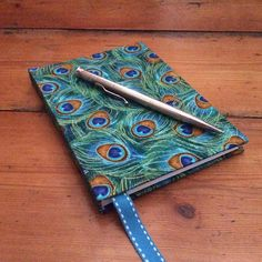 Small Notebook in a Peacock Feather Print Fabric/handbound book The Notebook Ending, Small Notebook, Shades Of Turquoise, Shades Of Green, Feather Print, Bookbinding, White Cotton, Peacock