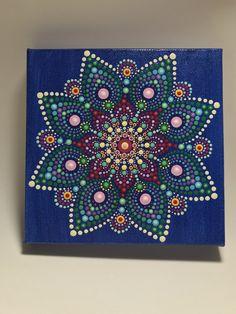 Hand Painted Mandala on Canvas m Meditation Mandala, Dot Painted Mandala, Wall Art, Mandala Wall Art, #619 by MafaStones on Etsy