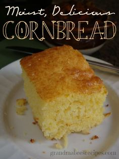 Moist, Delicious Cornbread - not dry and crumbly like most other cornbread recipes