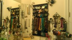 Jewelry Organizing- When I run out of space, I use push pins to hang necklaces. Also use random iron decor to hang earrings, bracelets and more. Hang Necklaces, Hanging Earrings, Iron Decor, Jewelry Organization, Organizing, Diy Crafts, Space, Random, Bracelets
