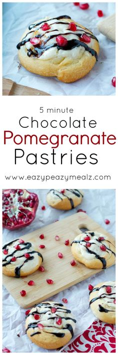 Chocolate Pomegranate Pastries: These delicious pastries are perfect for Valentine's Day. They only take 5 ingredients, and 5 minutes to put together! You will want to make them daily. -Eazy Peazy Mealz