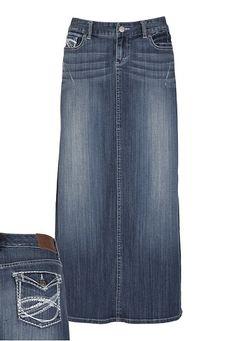 Back Flap Pocket Long Denim Skirt
