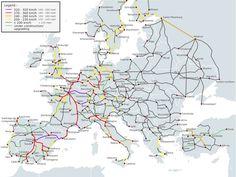mapa Vysokorychlostní tratě v Evropě