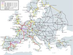 High Speed Railroad Map of Europe 2015 - Rail transport in Europe - Wikipedia Interrail Europe, Train Map, Train Route, Positano, Amalfi, Inter Rail, Europe Train, European Travel, Destinations