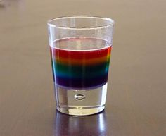We Made That shares a simple water density experiment that ends with this fun rainbow of colors in a glass. The colors stay separated for several days. Sugar, water, food coloring is all you need. Kid Science, Kindergarten Science, Science Experiments Kids, Science Fair, Science Lessons, Teaching Science, Science Activities, Science Projects, Teaching Tools
