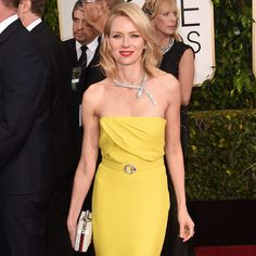 Naomi Watts, my favorite dress of GG '15, in Gucci, and love that necklace!