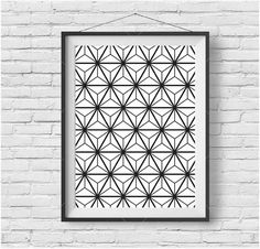 Geometric Pattern Art Abstract Print Abstract Art Geometric Print Geometric Poster Flower Print Black and White Print Geometric Wall Art