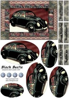 Black Beetle on Craftsuprint designed by Bodil Lundahl - This design is for a celebration card to the Beetle enthusiast. This black vintage beauty is from 1936 (I believe - but please don't hang me if I'm wrong). The design is rather masculine, but I'm sure a female vw lover would enjoy it too :) - Now available for download!