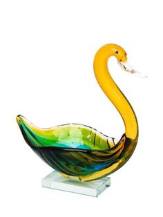 Glasfigur Figur Glas Ente Vogel im Murano Antik Stil 41cm
