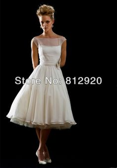 Factory Direct  TSD104  Tea Length Beach Casual Cap Sleeves Scoop Neckline Summer Short Wedding Dress 2013 $159.99