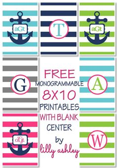 Freebie monogrammable printables anchor preppy stripe with instructions for adding text!