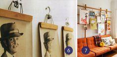 Hang art using vintage clothing hangers.
