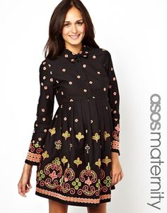 ASOS Maternity Skater Dress With Embroidery