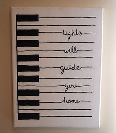 "Handpainted piano with a line from ""Fix You"" by Coldplay (or any other song you want). Beautiful. #DIY"
