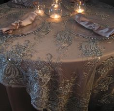 champagne tablecloth with ivory lace overlay