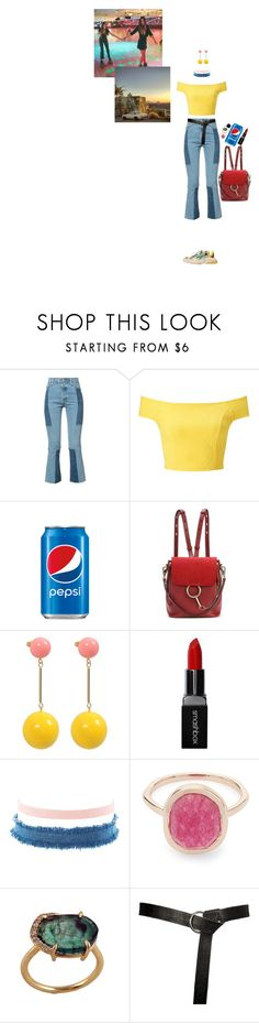 """""""Lonely afternoon 🌿"""" by ailin-prin ❤ liked on Polyvore featuring RE/DONE, Balenciaga, Miss Selfridge, Chloé, J.W. Anderson, Smashbox, Charlotte Russe, Liberty, Irene Neuwirth and yellow"""
