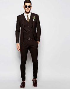 Fashion Brown Groom Tuxedo Groomsmen for Men Wedding Party Suits – Víctor Cobs Muñoz – Join in the world of pin Brown Suit Wedding, Wedding Men, Asos Wedding, Wedding Suit Styles, Wedding Suits, Vest And Tie, Groom Tuxedo, Party Suits, Paris Mode