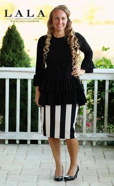 Black ruffled peplum top shirt. LALA. Www.lala.fashion