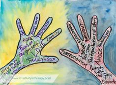 expressive Art therapy activities Hands Hold On To and Let Go Art Therapy Group Therapy Activities, Activities For Teens, Counseling Activities, Art Activities, Therapy Worksheets, School Counseling, Art Therapy Projects, Therapy Tools, Therapy Ideas