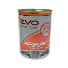 Nourish the carnivore within your dog - as nature intended! EVO mimics your dog's natural prey diet, by eliminating grains (to minimize starch and carbohydrate intake,) while maximizing the concentration of meat-based protein. Quality protein is highly digestible, highly palatable and nutrient dense. EVO 95% Chicken & Turkey canned dog food is low in carbs, grain free and loaded with real poultry.