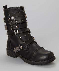 How badass are these black buckle leather boots!? So hot... | Bucco |