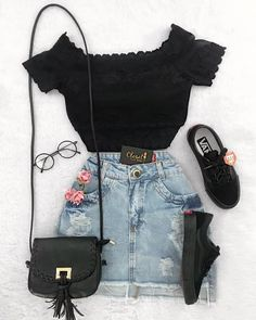 cute outfits with pink best outfits is part of Fashion outfits - cute outfit flowery and dark jean skirt with pink roses , black vans (shoes) , and off the shoulder black top with cute purse for the summer Image source Teen Fashion Outfits, Mode Outfits, Cute Fashion, Outfits For Teens, Girl Outfits, Trendy Fashion, Casual Teen Fashion, Style Fashion, Womens Fashion