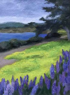 Lake Life, Landscape Art, Oil Paintings, Spring Time, Outdoor Spaces, Oil On Canvas, Paint Colors, Trees, Clouds