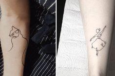 Tatuagens de linha contínua que quase não vão doer