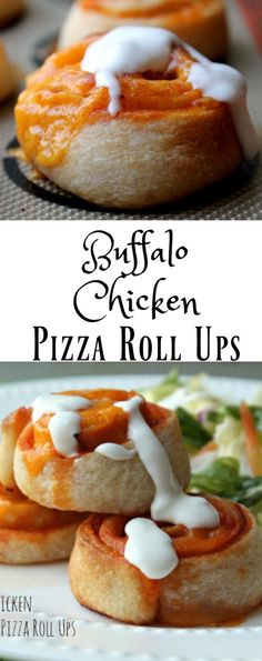 Buffalo Chicken Pizza Roll Ups -  ONLY 4 INGREDIENTS!!! This quick and easy…
