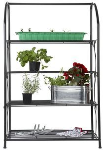 Mini greenhouse and shelf, perfect for the patio or garden. Mini Greenhouse, Ladder Decor, Planters, Home And Garden, Furniture, Dreams, Home Decor, Decoration Home, Room Decor