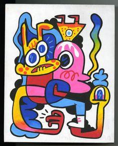 Panel Paintings | Jon Burgerman Art Lessons, Smurfs, Doodles, Animation, Paintings, Disney Characters, Drawings, Artist, Nature