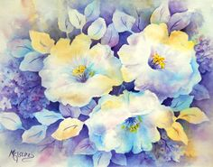 Watercolor White Flowers Blue Purple Yellow by by MarthaKislingArt
