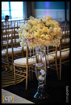 Wedding ceremony flowers, wedding aisle décor, pew flowers, wedding flowers, add pic source on comment and we will update it. www.myfloweraffair.com can create this beautiful wedding flower look.    Aisle Entrance Decor in Cream with Crystal Strands - Flora Nova Design, Seattle