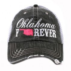 8add0768a4168 Oklahoma Forever Trucker Hat trucker caps are embroidered and have curved  bill distressed cap gives it a worn look adjustable velcro tab with mesh  back cott