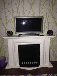 Dollhouse Fireplace U0026 Tv From Hobby Lobby