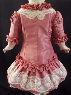 Magnificent Antique French Silk & Cotton Lace Couturier BEBE Dress size 11-12 | eBay