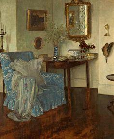 'An interior' (1919) English Painter Leonard Campell Taylor (1874-1969).