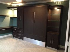 Wengue Contemporary Murphy Bed has stainless steal kicks for a sleek modern finish.  http://murphybedsales.com - wengue contemporary murphy bed #61